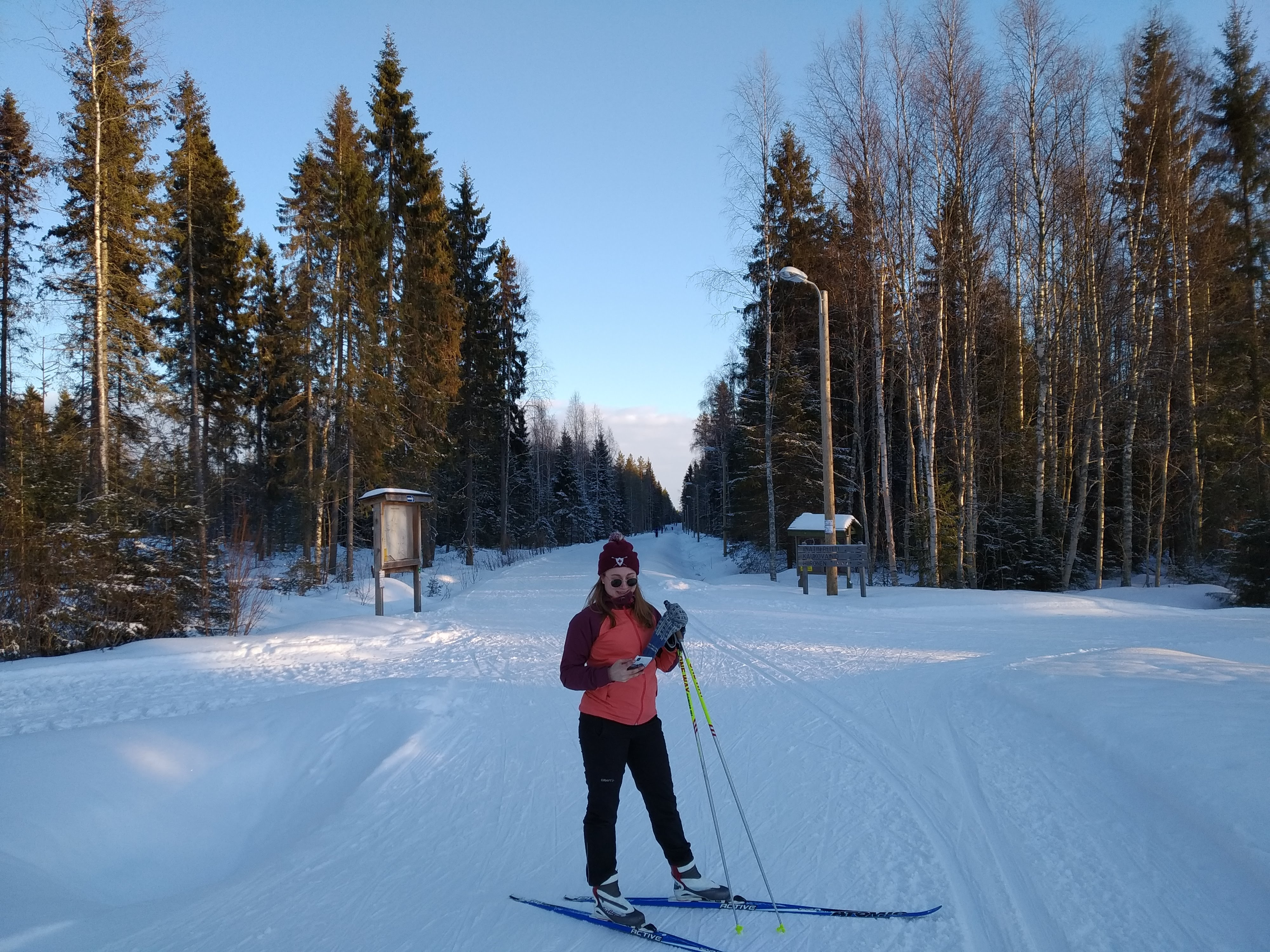 Cross-country skiing with Venla
